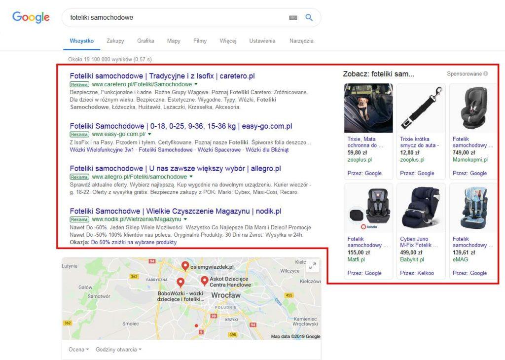 reklamy w Google ads lista web