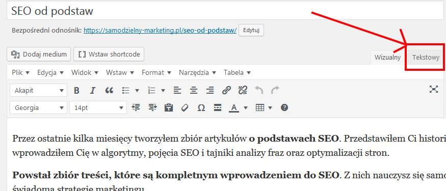 edytor tekstowy w WordPress