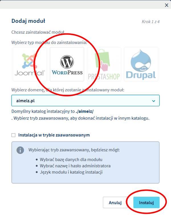 instalacja WordPress na OVH