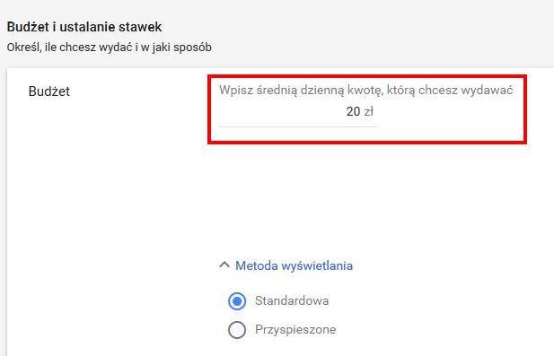pierwsza kampania w Google Ads - budżet dzienny