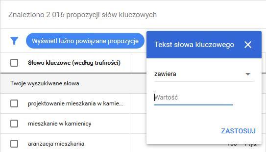 pierwsza kampania w Google Ads - filtry w planerze słów kluczowych