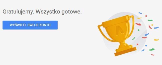 Pierwsza kampania w Google Ads - konto założone