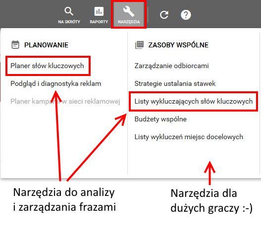 pierwsza kampania w Google Ads - nawigacja 1