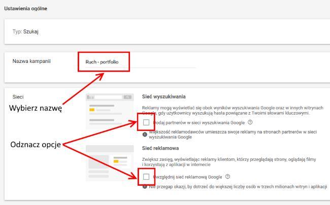 pierwsza kampania w Google Ads - nazwa i miejsca wyświetlania