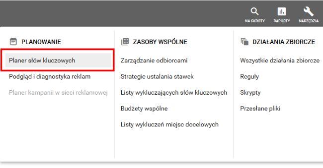 pierwsza kampania w Google Ads - planer słów kluczowych