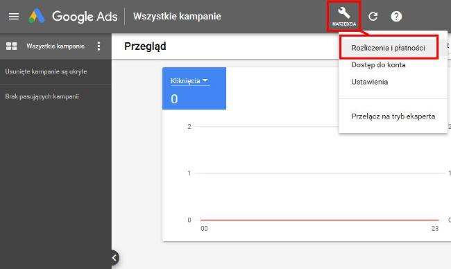 pierwsza kampania w Google Ads - rozliczenia i płatności