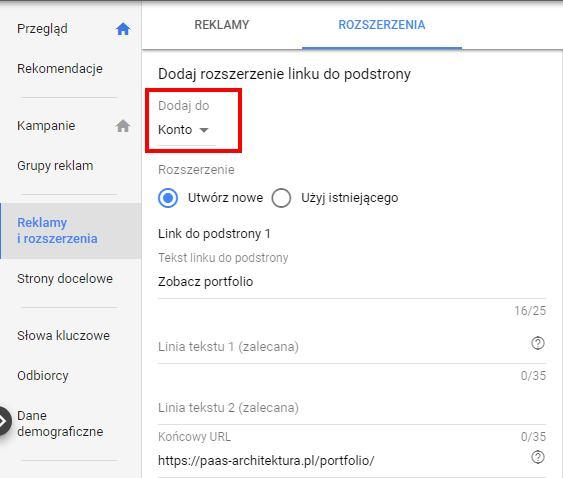 pierwsza kampania w Google Ads - rozszerzenie linków