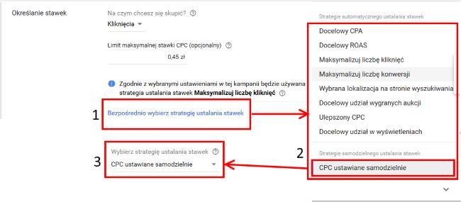 pierwsza kampania w Google Ads - strategia ustalania stawek
