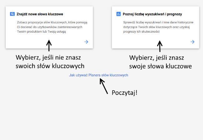 pierwsza kampania w Google Ads - wybór narzędzia analizy fraz kluczowych