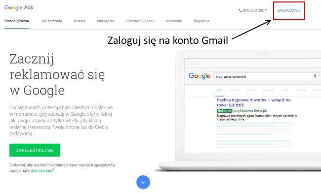 Pierwsza kampania w Google Ads - zaloguj się