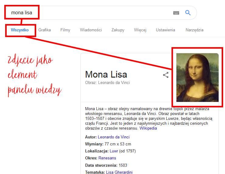 zdjęcia w Google - panel wiedzy