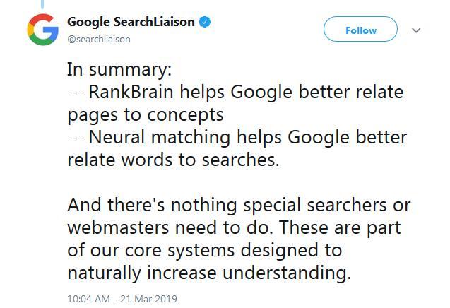 Google - neural matching i RankBrain