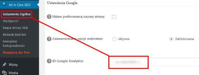 Wprowadzenie do Google Analytics - indentyfikator GA we wtyczce SEO
