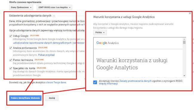 Wprowadzenie do Google Analytics - zgody i regulamin