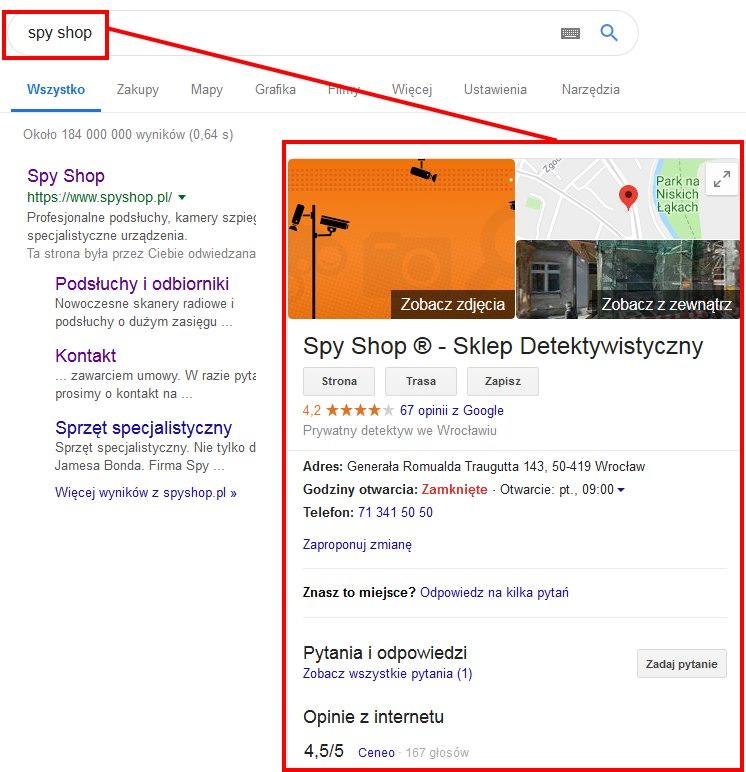 panel wiedzy w Google