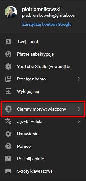 YouTube ciemny motyw