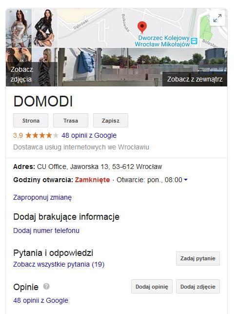 Pozycjonowanie w mapach Google - panel wiedzy