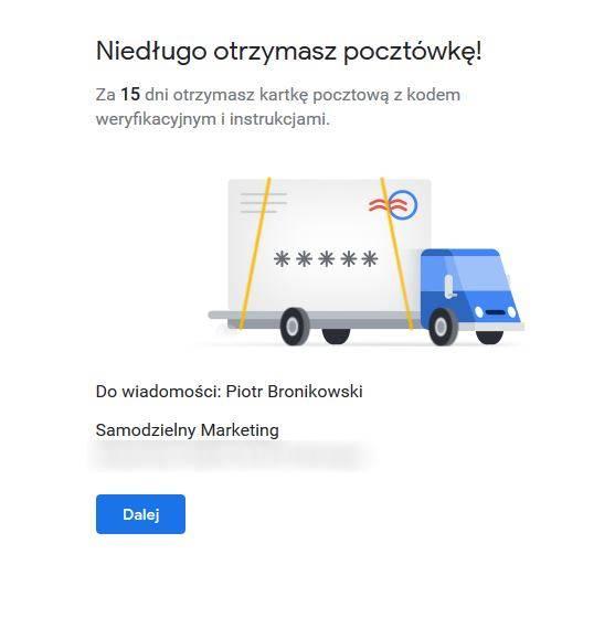 Pozycjonowanie w mapach Google - weryfikacja pocztowa w Google moja firma
