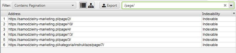 Audyt SEO - budowa adresów URL paginacji