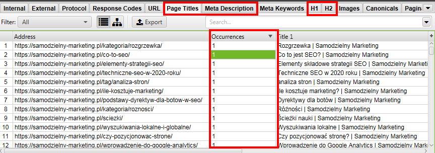 Audyt SEO dla witryny - nagłowki i meta dane w audycie