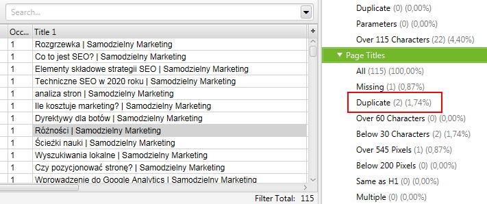Audyt SEO strony - kontrola duplikacji tytułów