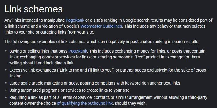 Google wytyczne dotyczące link buildingu