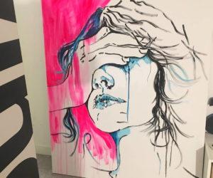 zasłonięta twarz – Agata Bronikowska – obrazy do wnętrz
